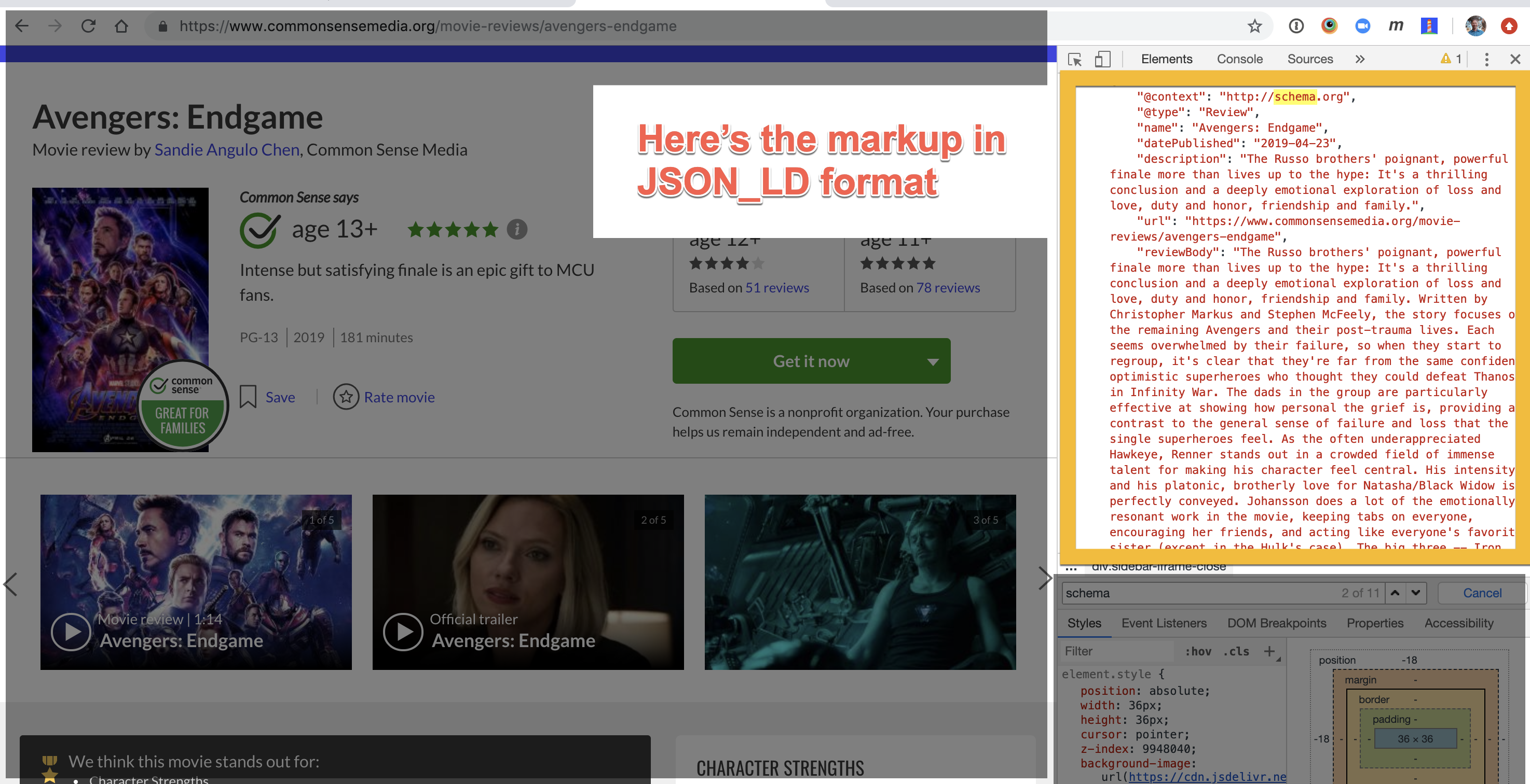 Screen shot of movie review page with developer console open showing schema markup used
