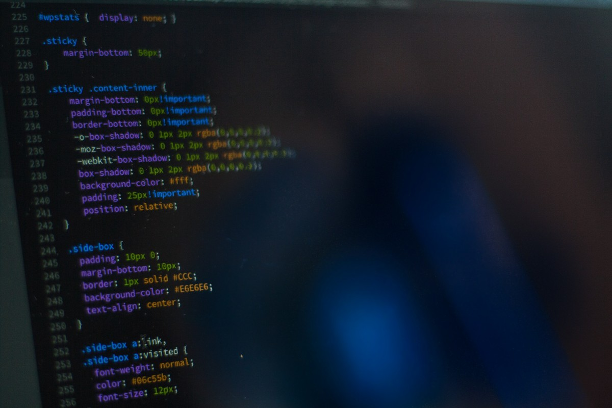 Photo of CSS code on a screen